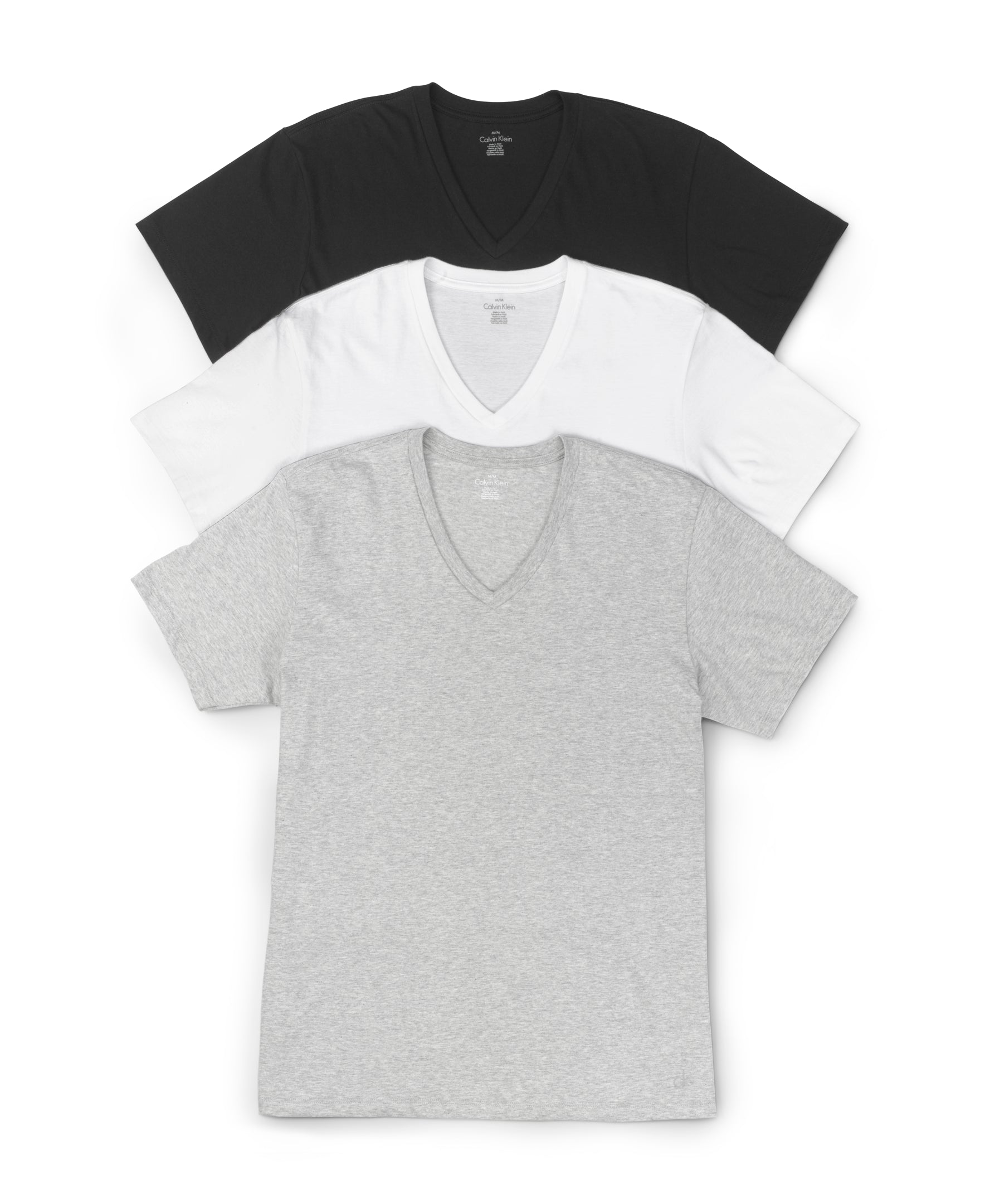Grey Heather/White/Black Front Calvin Klein 3-Pack Cotton Classic V-Neck T-Shirts M4065
