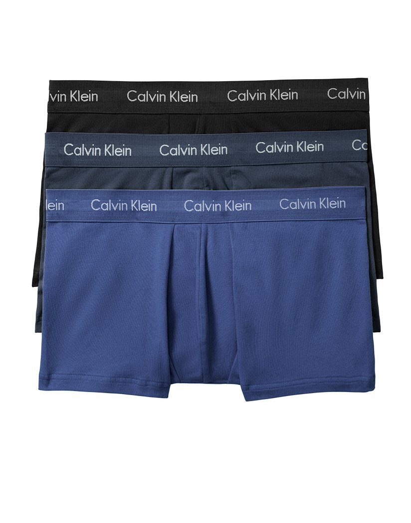Black/Blue Shadow/Cobalt Blue Front Calvin Klein Cotton Stretch Low Rise 3 Pack Trunk Black/Blue Shadow/Cobalt Blue NU2664