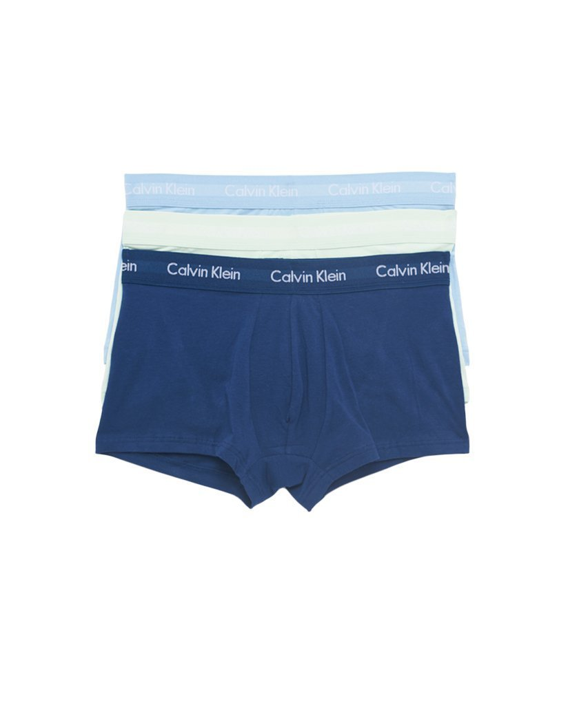 Wedgewood/Elysian Green/Blue Depth Front Calvin Klein 3-Pack Cotton Stretch Fashion Trunk NU2664