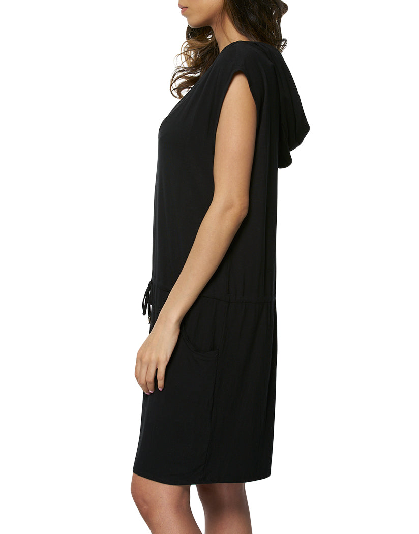 Black Side Calvin Klein Hooded Mesh Inset Tunic CG9CS946