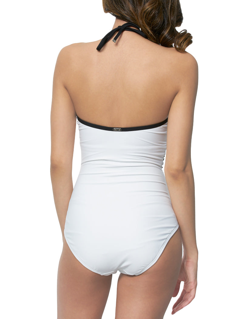 Soft White Paradise Palm Back Calvin Klein Swim V Wire Bandeau Halter 1pc with Removable Cups CG9MK712