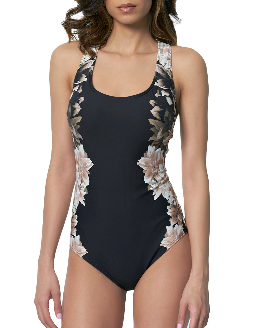 f677deb1f0 Black Lily Front Calvin Klein Swim Cross Back One Piece Swimsuit with Tummy  Control Black Lily