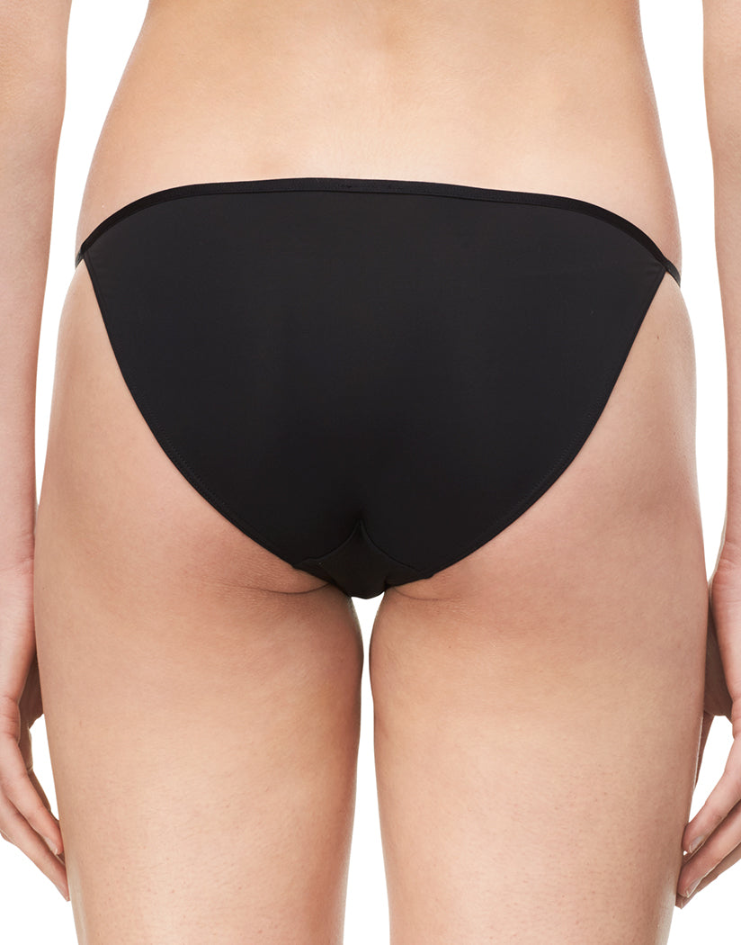Black Back Calvin Klein Women Sleek Microfiber Low Rise String Bikini Panty D3510