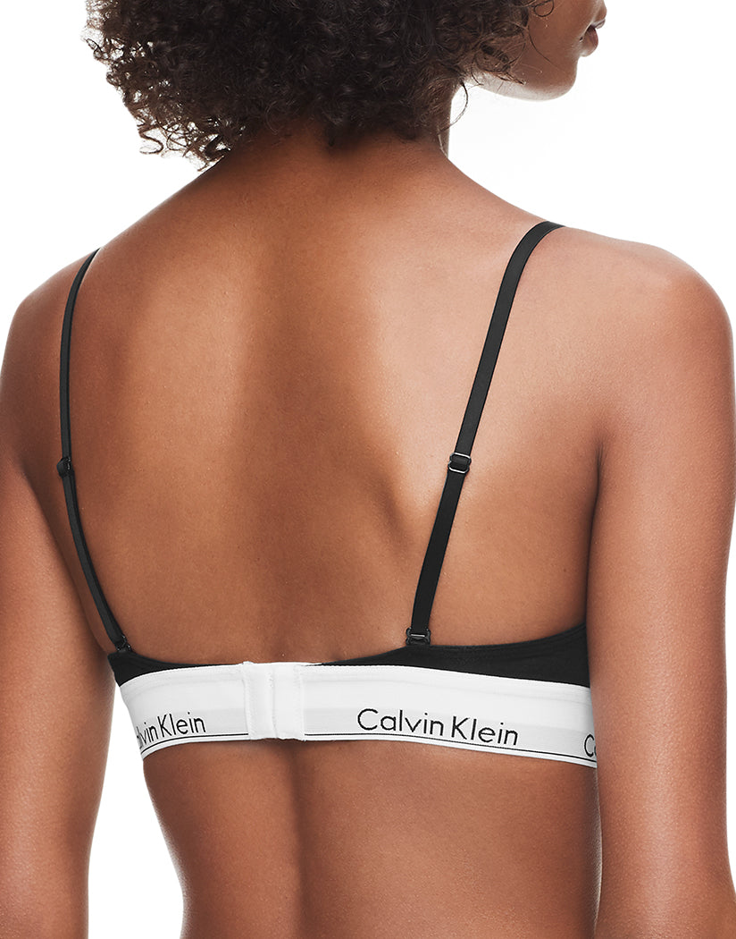 Black Back Calvin Klein Women Modern Cotton Unlined Triangle Bralette QF1061