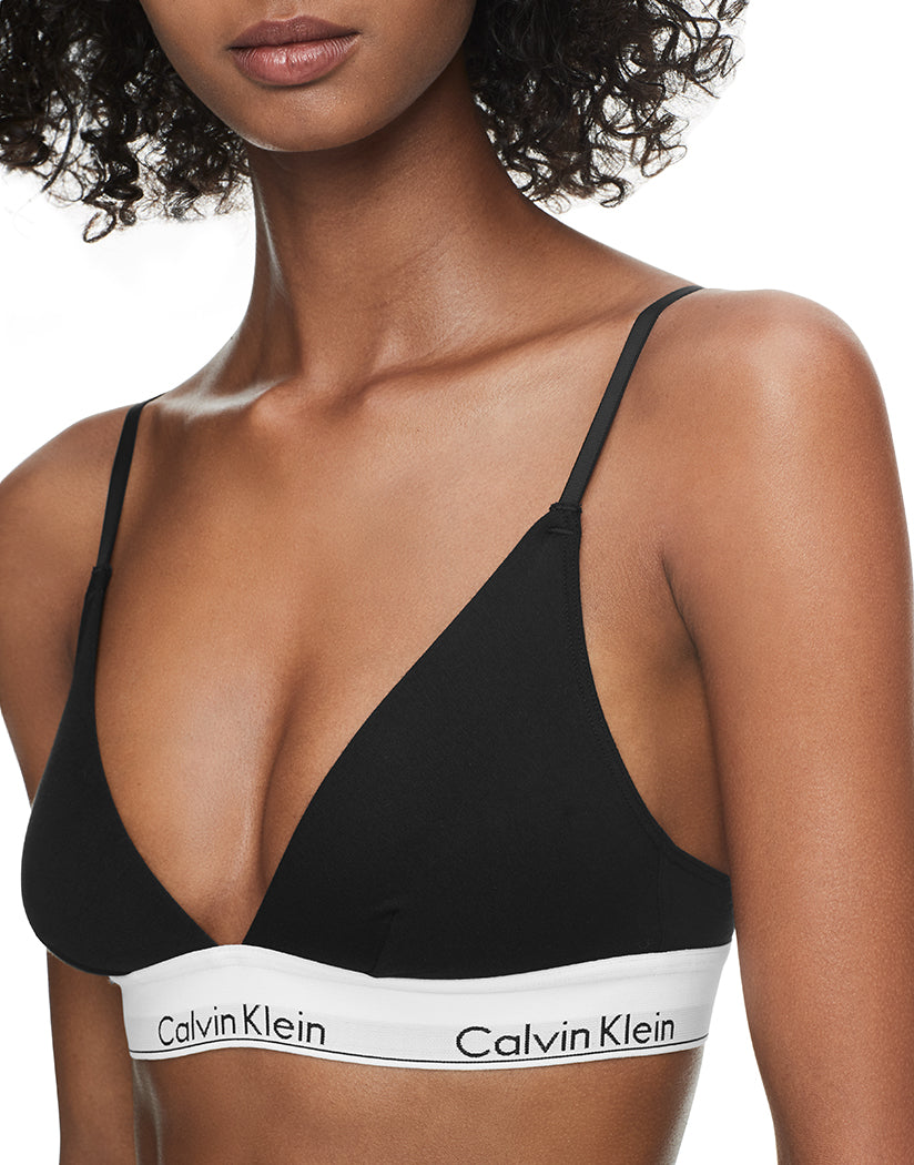 Black Side Calvin Klein Women Modern Cotton Unlined Triangle Bralette QF1061