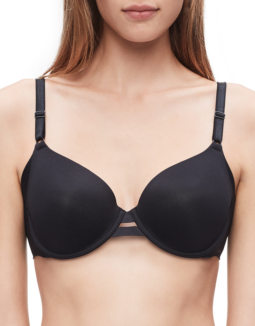 Black Front Calvin Klein Women Invisibles Full Coverage Contour T-Shirt Bra QF1184