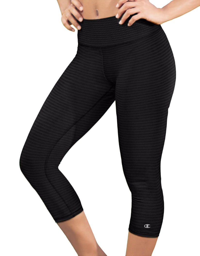 Champion Womens Absolute Printed Capris With SmoothTec™ Band Black Heather Stripe L 090563794171