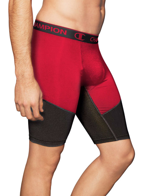 Champion Scarlet/Black Front PowerFlex 9 Mens Solid Compression Shorts