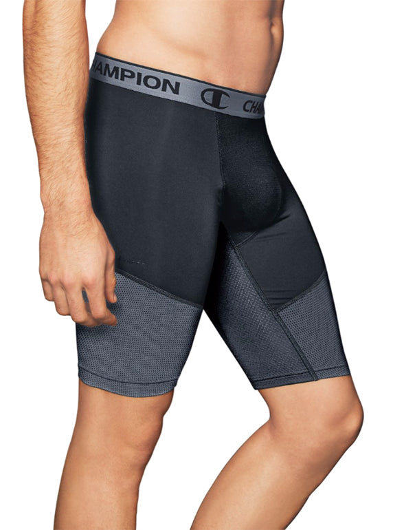 Champion Mens Champion Men PowerFlex 9 Solid Compression Shorts Stealth/Stormy Night XL 078715626518