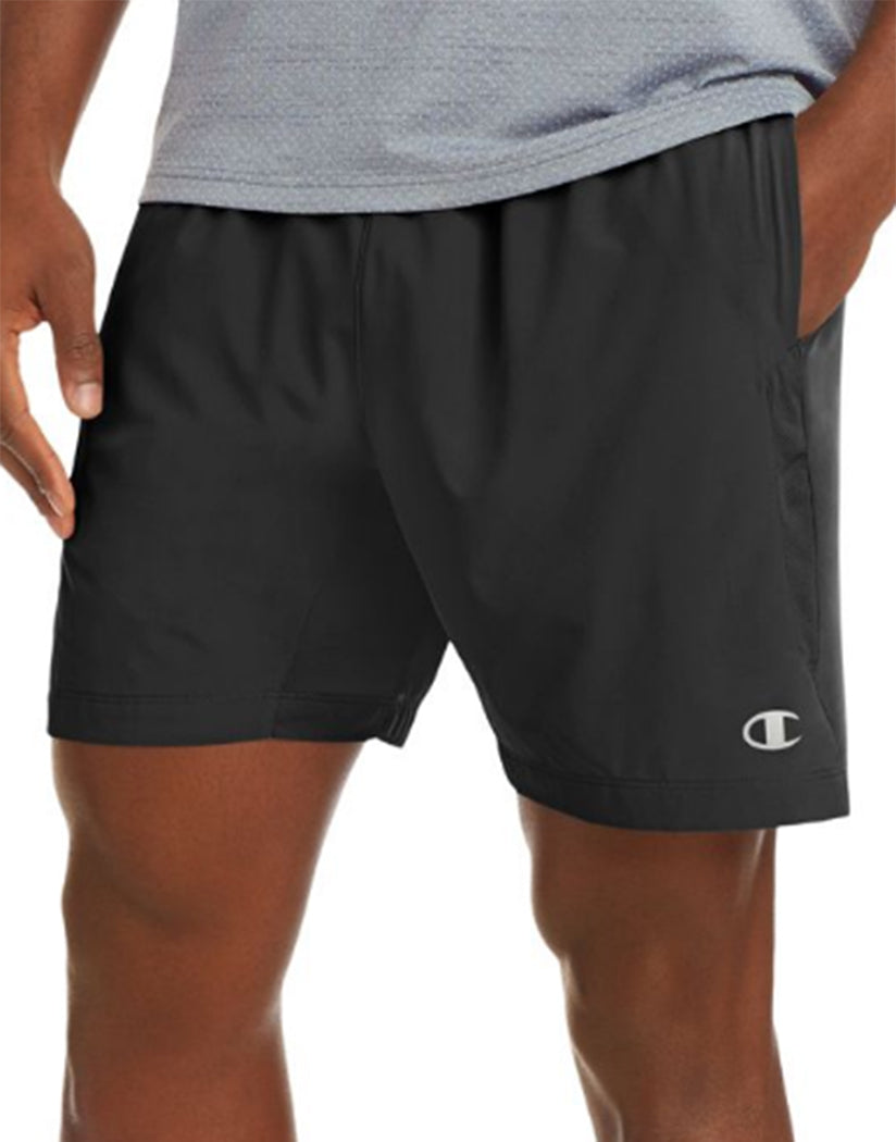 Champion Mens Champion Run Shorts, 7-inch Inseam Black L 738994389336