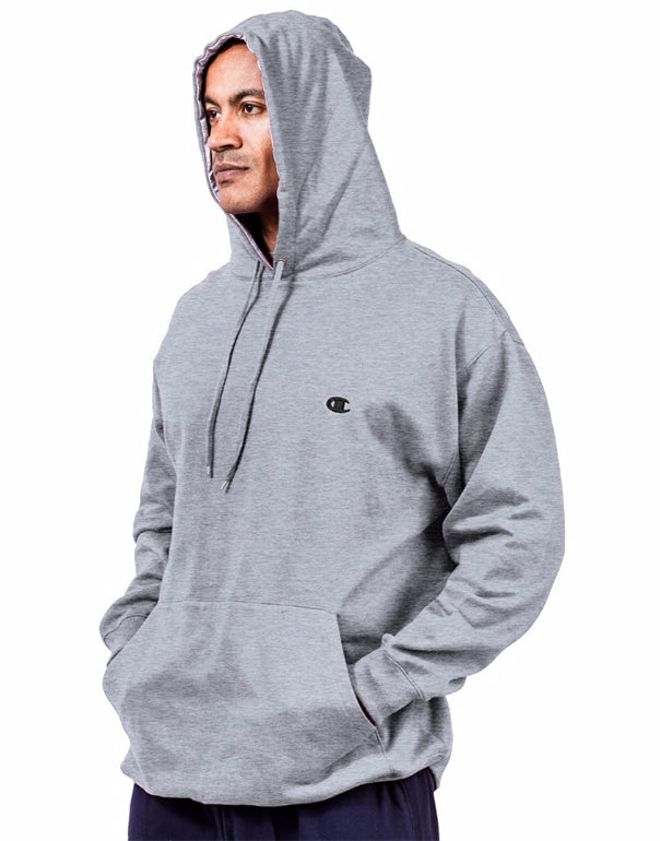 Heather Grey Front Champion Men Big Tall Pullover Fleece Hoodie with Contrast Liner