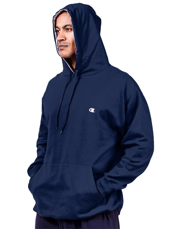 Navy Front Champion Men Big Tall Pullover Fleece Hoodie with Contrast Liner