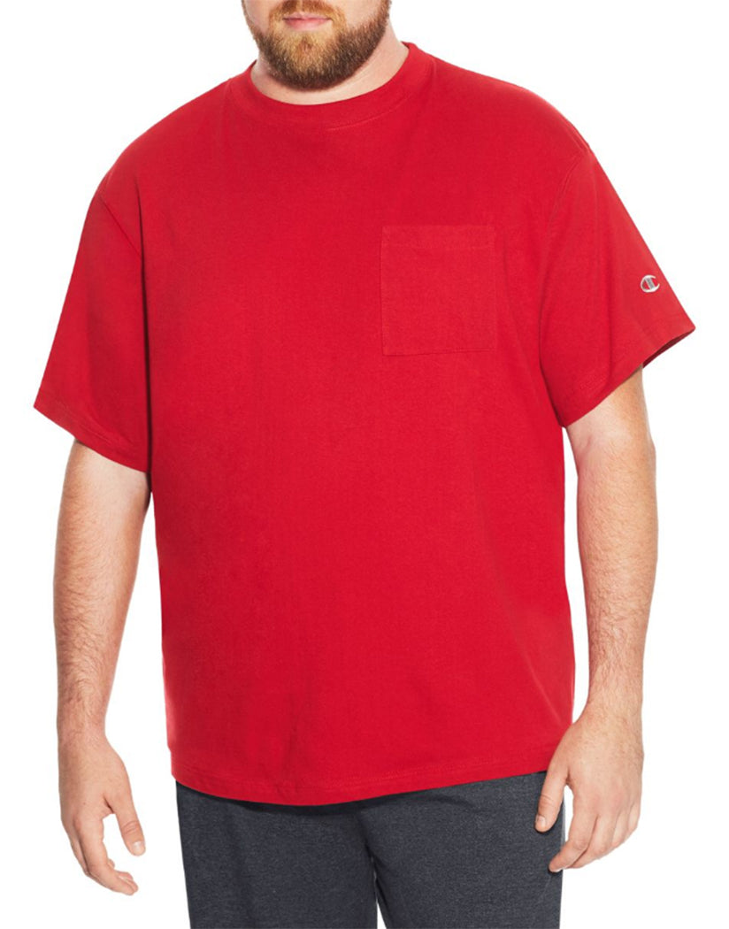 Champion Mens Champion Men Big  Tall Mens Short Sleeve Pocket Jersey Tee Crimson Red 4XL 889758098398