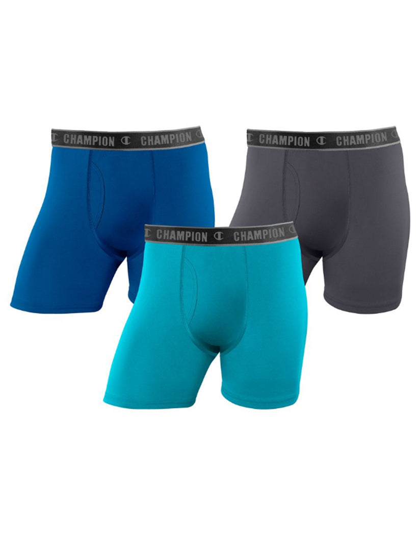 Champion Mens Champion Men's Active Performance Regular Leg Boxer Brief 3-Pack Winter River Teal/Upbeat Teal/Stealth XL 617914016982