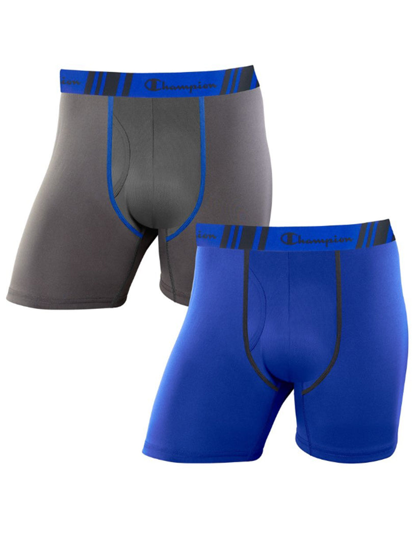 Stealth/Surf the Web Front Champion Men's Tech Performance Regular Leg Boxer Brief 2-Pack