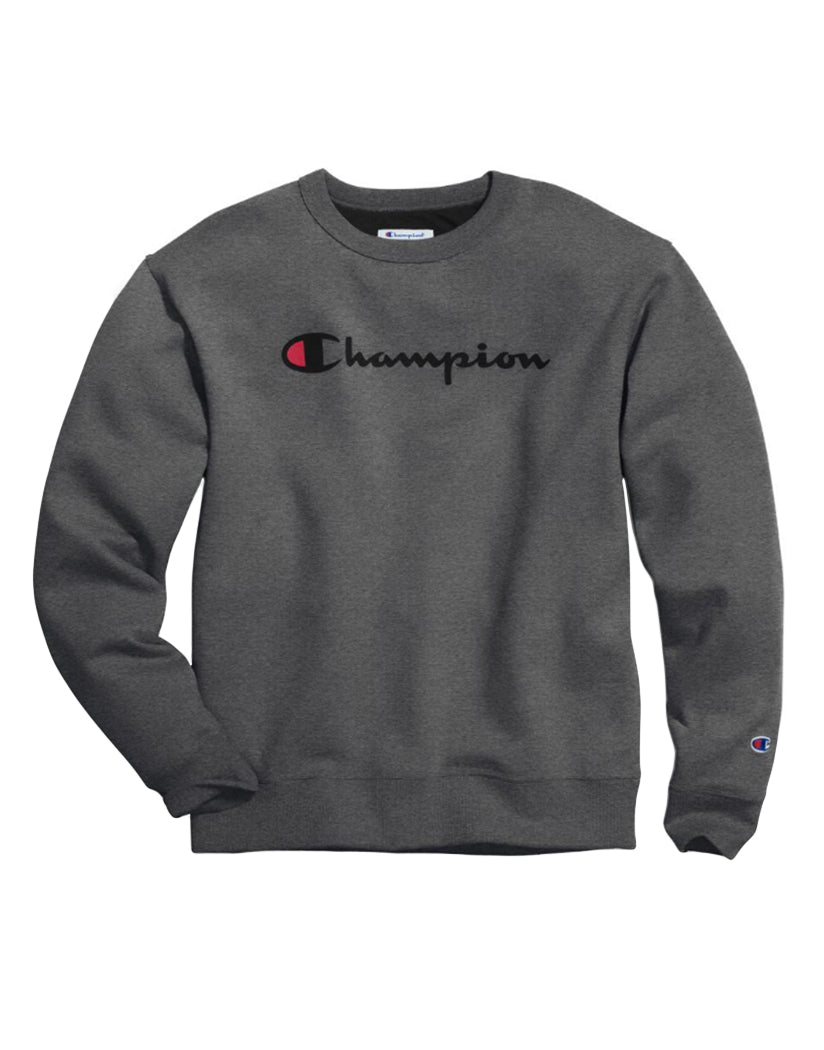 Granite Heather Front Champion Men's Powerblend® Crew, Script Logo GF88H Y06794