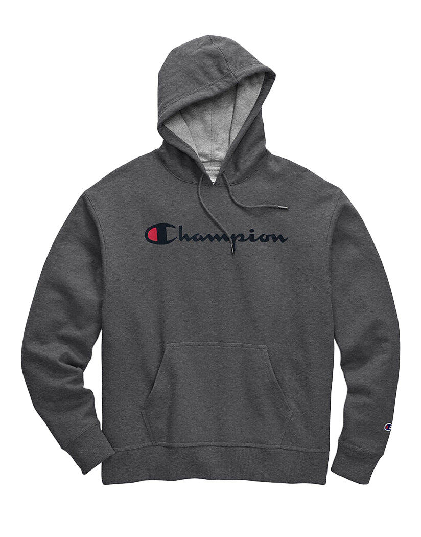 Granite Heather Front Champion Mens Powerblendí«̴å Pullover Hoodie, Script Logo GF89H Y06794
