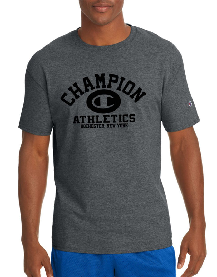 Charcoal Heather Front Champion Men's Jersey Tee, Homebase