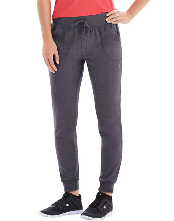 Champion Womens Jersey Pocket Pants Granite Heather S 078715978594