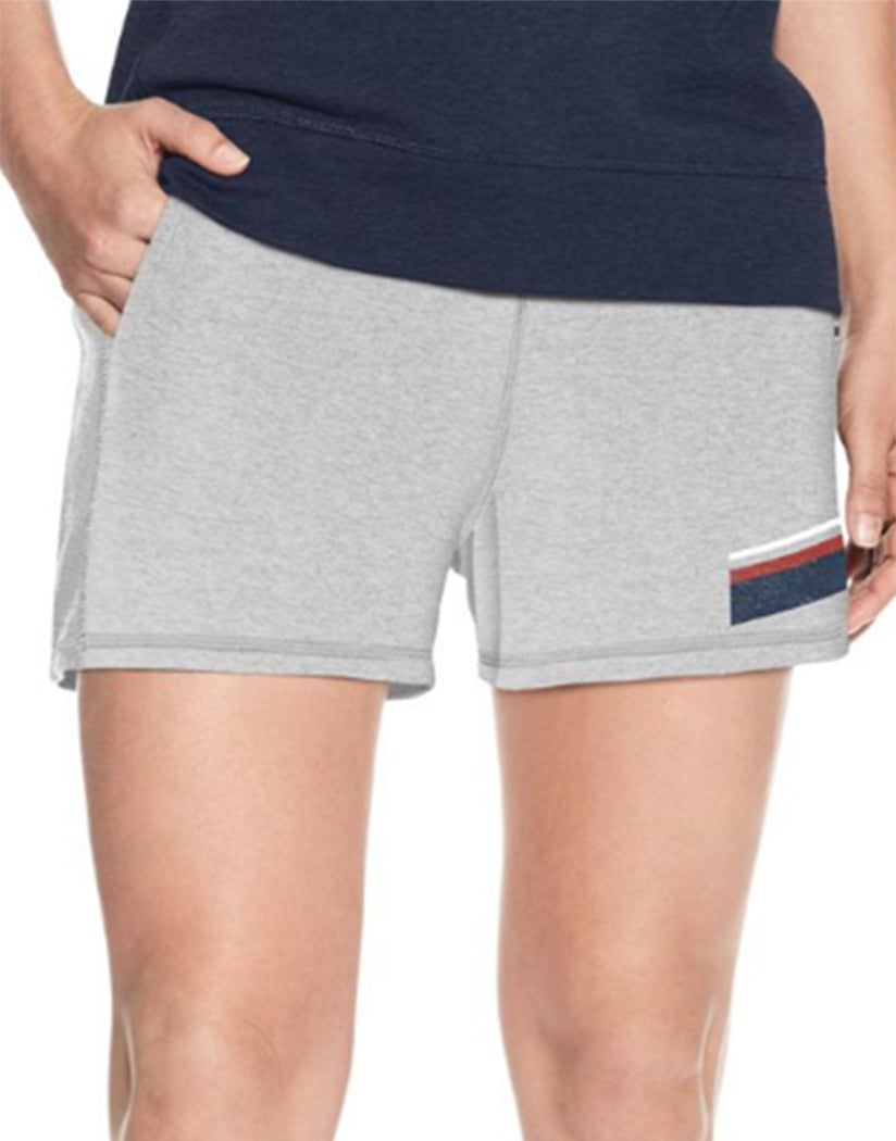 Oxford Grey Heather Front Champion Women's Heritage French Terry Shorts With Stripes