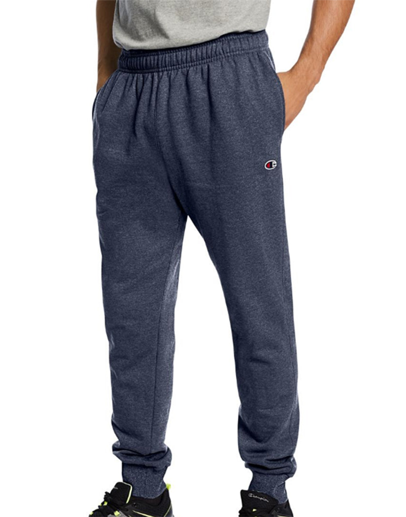 Navy Heather Front Champion Mens Powerblend Retro Fleece Jogger Pant P1022 549314