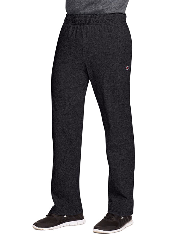 Champion Mens Champion Authentic Mens Open Bottom Jersey Pants Granite Heather 2XL 078715159863