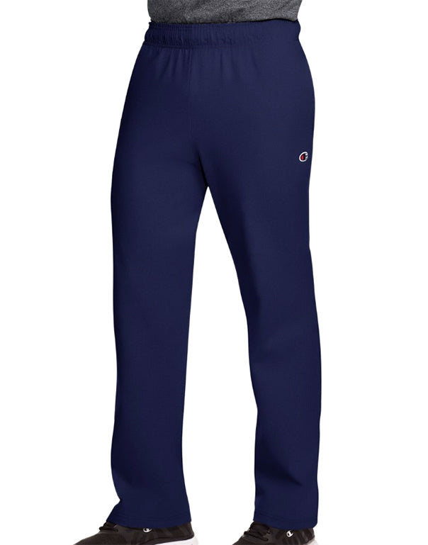 Navy Front Champion Authentic Mens Open Bottom Jersey Pants
