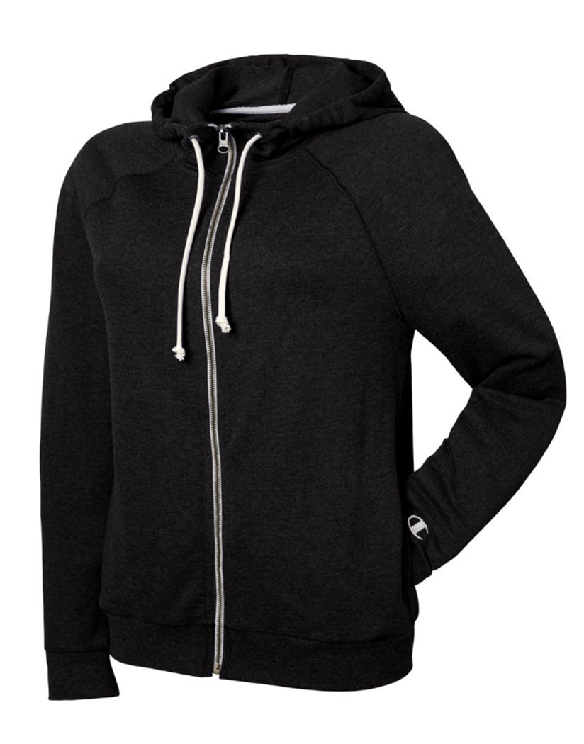 Black Front Champion Women Plus French Terry Full Zip Hoodie QW1237