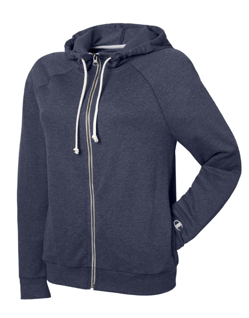 Navy Heather Front Champion Women Plus French Terry Full Zip Hoodie QW1237