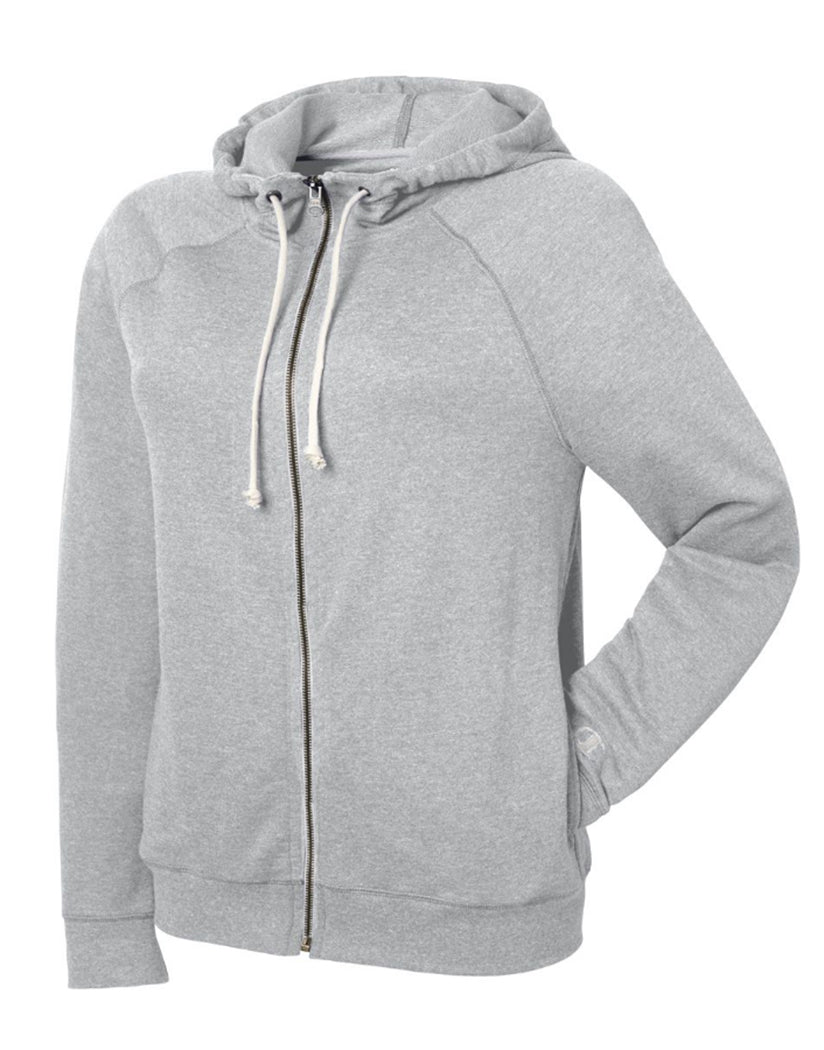 Oxford Grey Heather Front Champion Women Plus French Terry Full Zip Hoodie QW1237