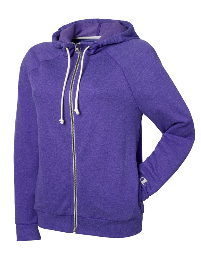 Space Purple Heather Front Champion Women Plus French Terry Full Zip Hoodie QW1237