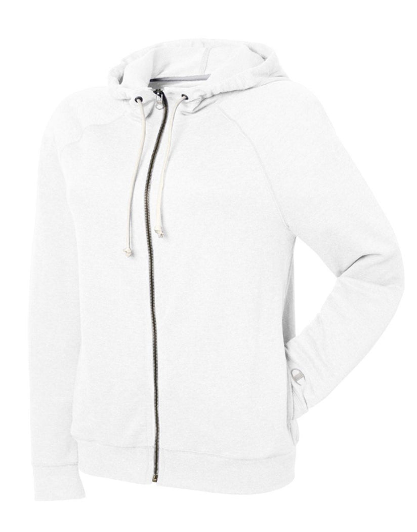 White Front Champion Women Plus French Terry Full Zip Hoodie QW1237