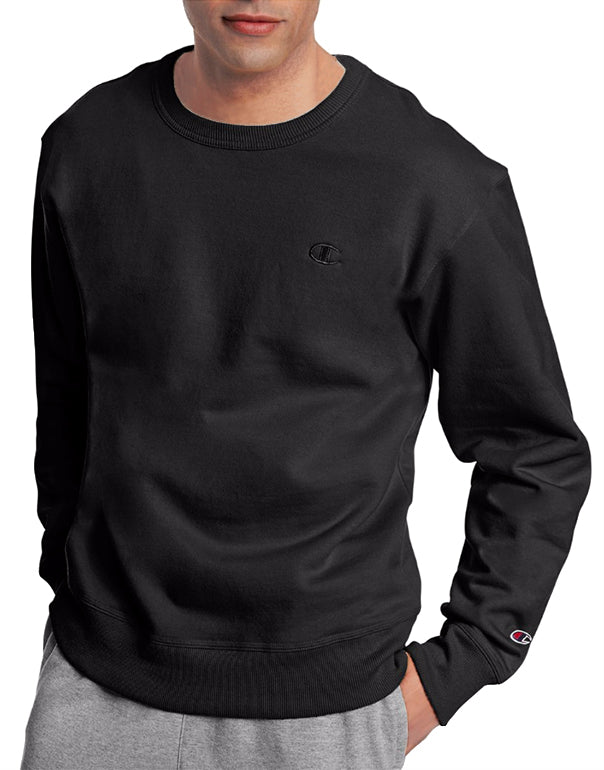 Black Front Champion Mens Powerblend Fleece Pullover Crew