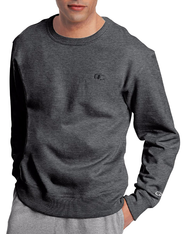 Granite Heather Front Champion Mens Powerblend Fleece Pullover Crew S0888