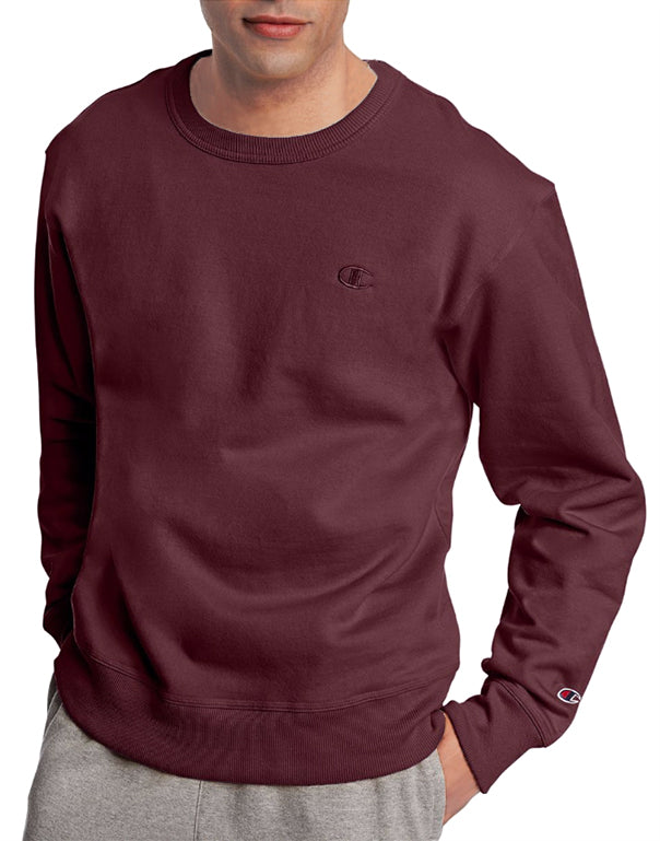 Maroon Front Champion Mens Powerblend Fleece Pullover Crew S0888