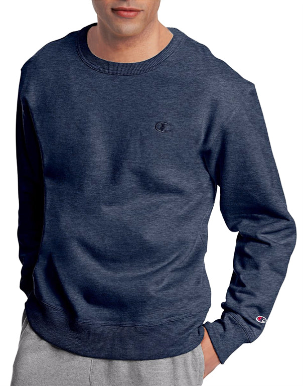 Navy Heather Front Champion Mens Powerblend Fleece Pullover Crew