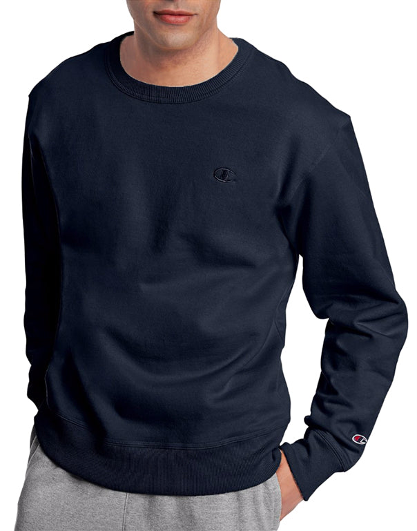Navy Front Champion Mens Powerblend Fleece Pullover Crew