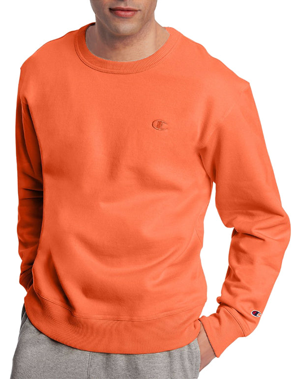 Orange Front Champion Mens Powerblend Fleece Pullover Crew
