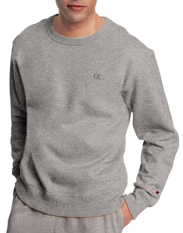 Oxford Grey Front Champion Mens Powerblend Fleece Pullover Crew