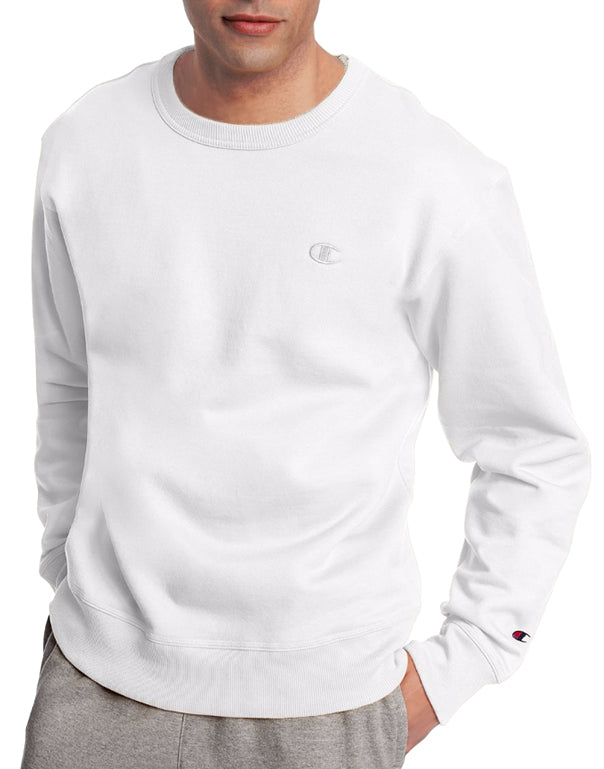 White Front Champion Mens Powerblend Fleece Pullover Crew