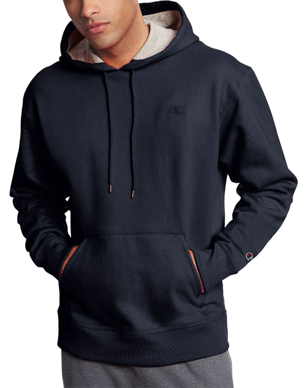 Navy Front Champion Mens Powerblend Fleece Pullover Hoodie