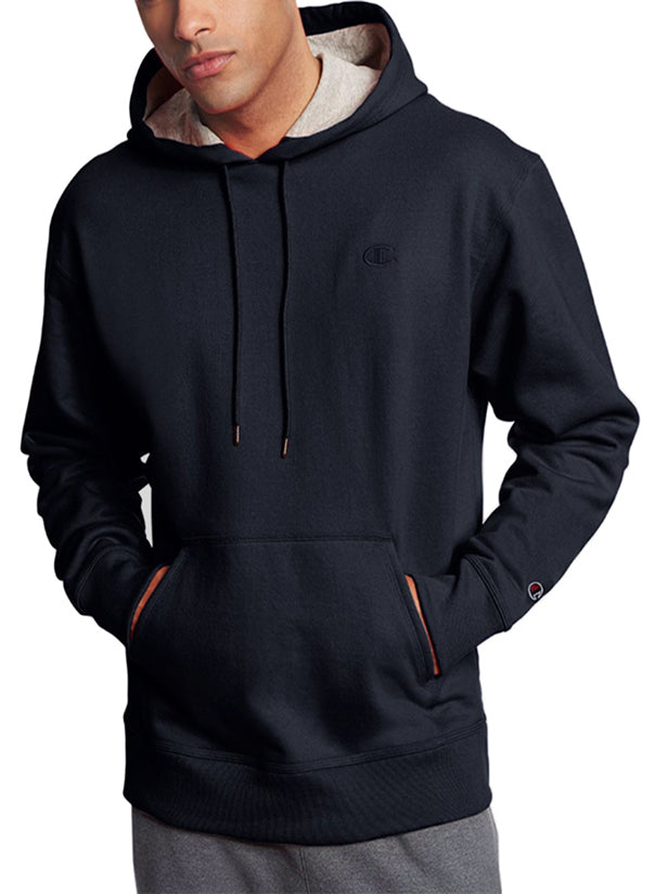 Black Front Champion Mens Powerblend Fleece Pullover Hoodie