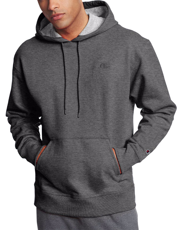Granite Heather Front Champion Mens Powerblend Fleece Pullover Hoodie