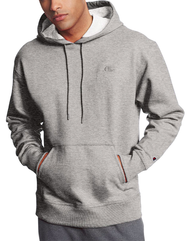Oxford Grey Front Champion Mens Powerblend Fleece Pullover Hoodie