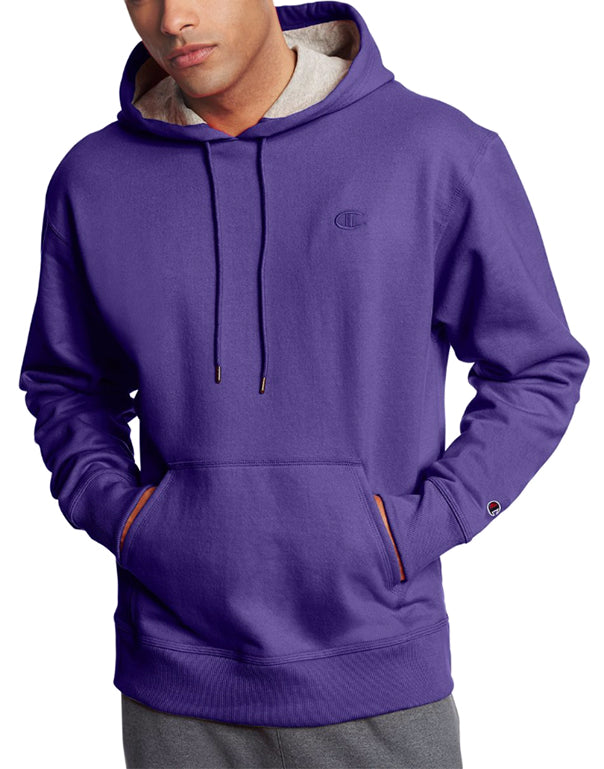 Purple Front Champion Mens Powerblend Fleece Pullover Hoodie