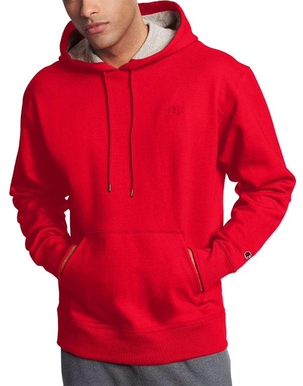 Team Red Scarlet Front Champion Mens Powerblend Fleece Pullover Hoodie