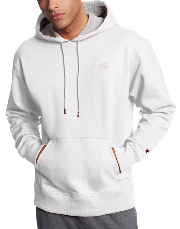 White Front Champion Mens Powerblend Fleece Pullover Hoodie