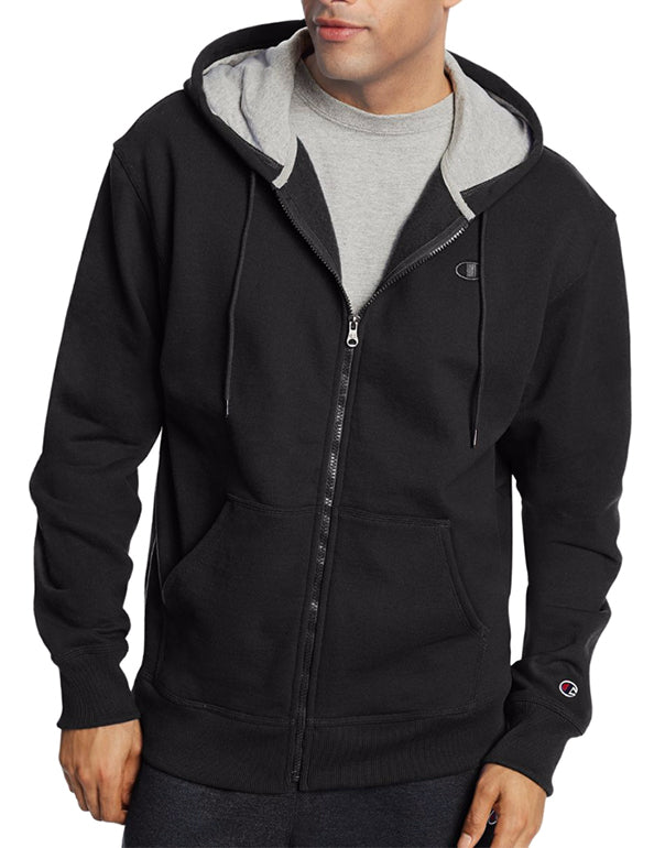 Champion Mens Powerblend Fleece Full Zip Jacket Black S 090563290697