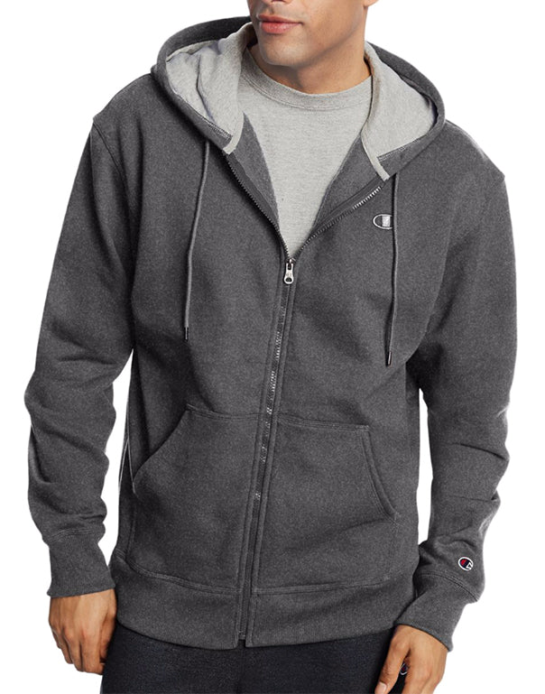 Champion Mens Powerblend Fleece Full Zip Jacket Granite Heather XL 090563290826