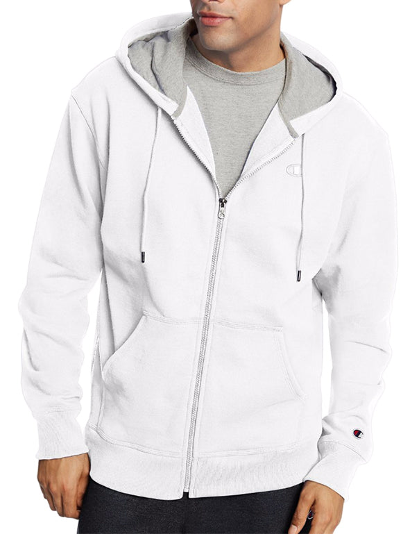 White Front Champion Mens Powerblend Fleece Full Zip Jacket